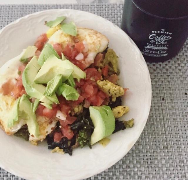 Egg Stir Fry w/Avocado and Black Coffee