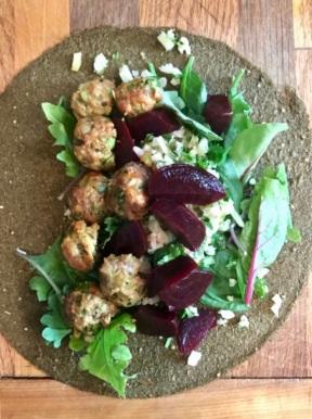 Kale Wrap w/Homemade Meatballs